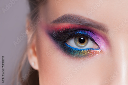 Amazing Bright eye makeup in luxurious blue shades Poster Mural XXL