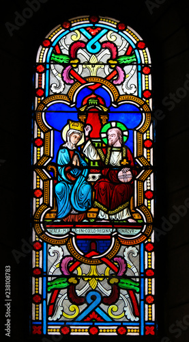 Staande foto Stained Coronation of Mother Mary by Jesus Christ in Heaven