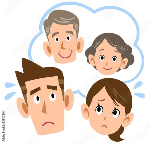 Fotografía  親について心配する夫婦