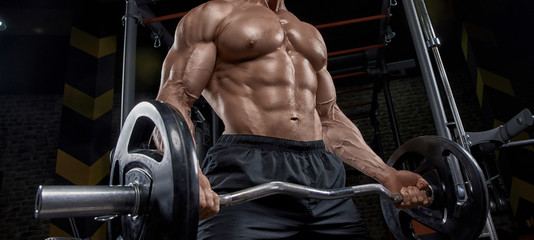 Fototapeta na wymiar Muscular man working out in gym doing exercises, strong male naked torso abs.