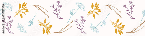 Canvastavla Sacred Dried Herb Bunches Seamless Vector Border
