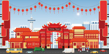 Happy Chinese New Year Greeting Card With China Town Village.