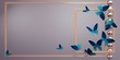Panoramic background with abstract composition: gold frames with tropical butterflies and Golden balls. Empty space under the text. 3D illustration