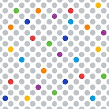 Gray And Rainbow Circles, Polka Dots Seamless Pattern