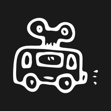 Hand Drawn Toy Bus Doodle. Sketch Children's Toy Icon. Decoration Element. Isolated On Black Background. Vector Illustration
