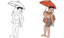 Man And Woman In Thai Traditional Painting Vector