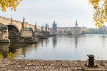 Prague River Bank And Old Town...