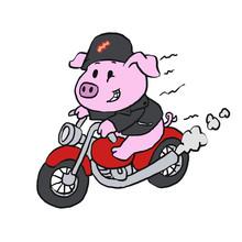 Cute Cartoon Pig Riding Motorcycle