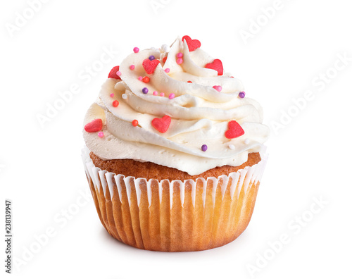 Photo  Cupcake isolated on white background.