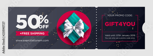 Vector Birthday Gift Coupon Elegant Christmas Voucher Design Premium EGift Card Background For E