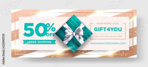 Vector Birthday Gift Coupon Elegant Christmas Voucher Design Premium EGift Card Background For Ecommerce