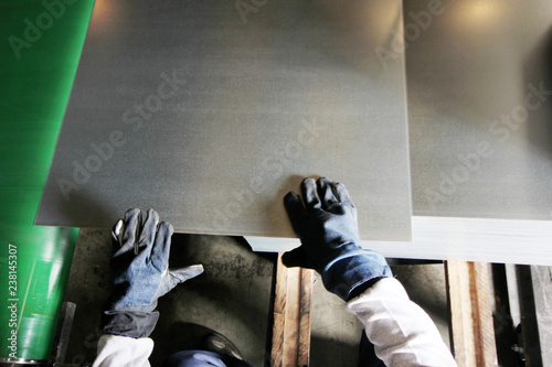 worker working in metal cutting Canvas Print