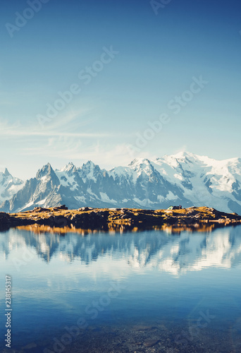 Fotobehang Bergen Great Mont Blanc glacier with Lac Blanc. Location Graian Alps, France, Europe.