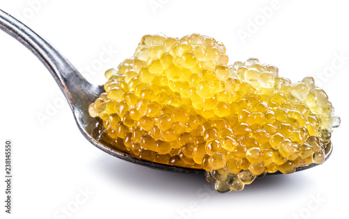 Pike caviar or roe in spoon on white background.