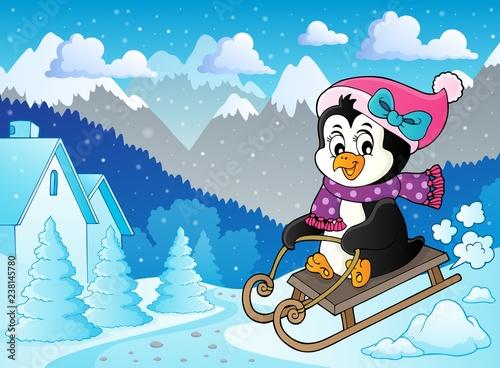 Poster Voor kinderen Sledging penguin theme image 5
