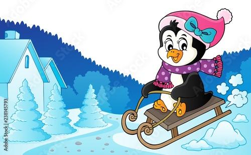 Poster Voor kinderen Sledging penguin theme image 6