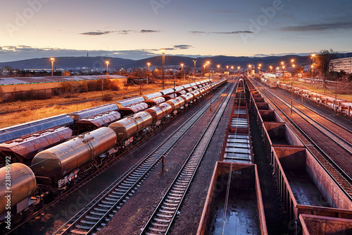 Valokuvatapetti Cargo train platform at sunset with container