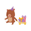 Funny little bear pulling yellow cart with Birthday presents. Humanized animal in party hat. Flat vector design