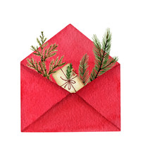 Watercolor Vector Postal Envelope With Green Fir Branches And A Gift.