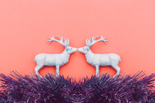 Two White Deers Kiss. Christmas Style