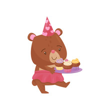 Cute Girl Bear Walking With Tr...