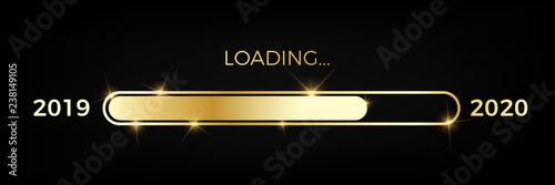 Fototapeta golden Loading Screen Year 2019 2020 obraz