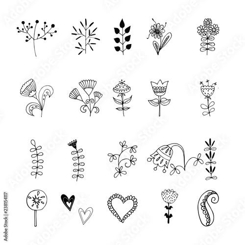 Vector hand drawn set of different folk art scandinavian motives Slika na platnu