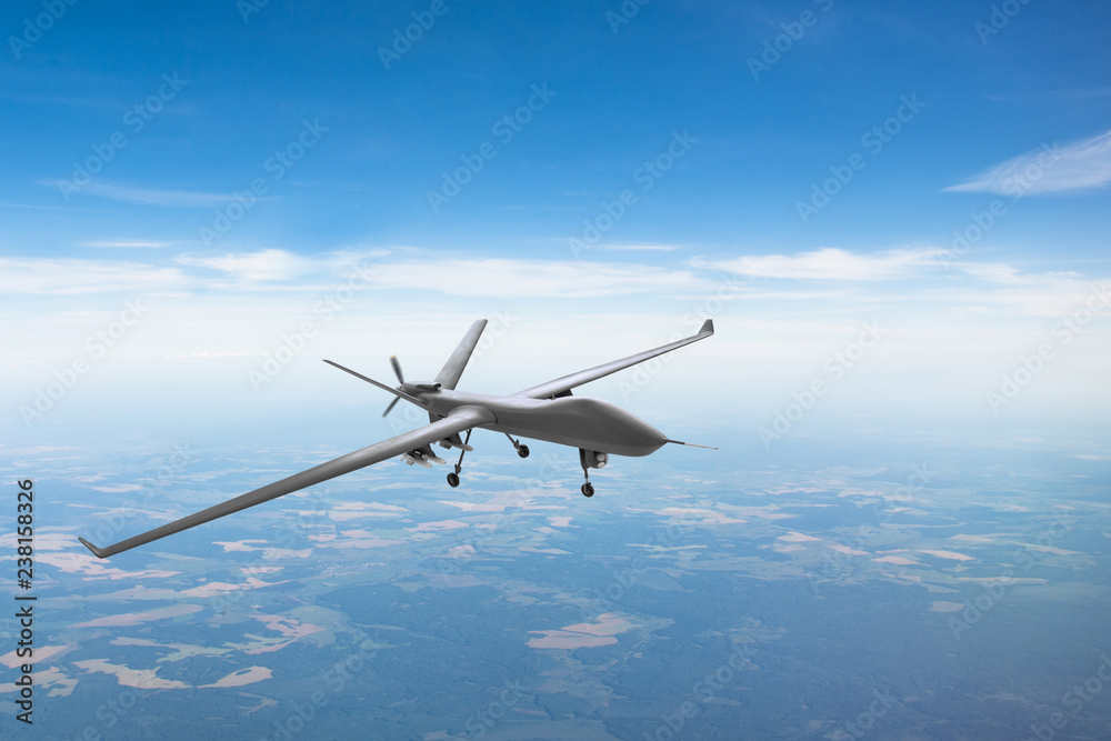 Fototapeta Unmanned aircraft patrol air sky at high altitude.