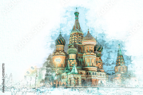 Vászonkép Stylized by watercolor sketch painting of  beautiful St
