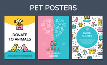 Vector Pet Design Poster Set. ...