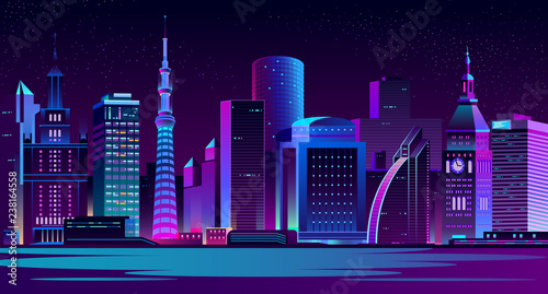 Leinwand Poster Night landscape of metropolis on river shore cartoon vector illustration with illuminated neon light, futuristic architecture skyscrapers, clock tower on old city hall building