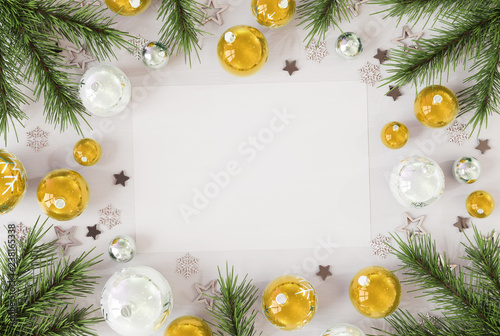 Poster Hoogte schaal Christmas card mockup with golden baubles 3D rendering
