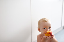 Baby Led Weaning, Baby Learning To Eat With His First Foods.
