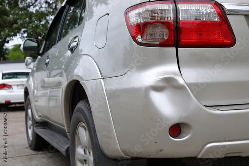 Fototapeta vehicle car bumper dent and taillight broken collision crash damage accident on