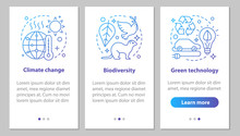 Ecology Onboarding Mobile App Page Screen With Linear Concepts