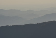 Rolling Mountain Landscape With Fall Color Foliage And Forest And Blue Haze In The Blue Ridge Mountains Of North Carolina