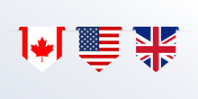 Flags Of USA, UK And Canada Ri...