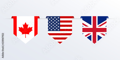 Flags of USA, UK and Canada ribbon or pennant Canvas Print