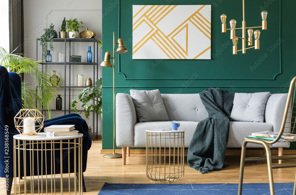 Golden, green and grey accents in contemporary living room ...