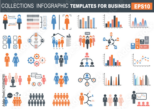 Photo  ollection of infographic people  elements for business