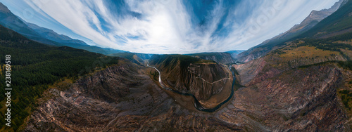 Aerial panorama of the Katu Yaryk mountain pass and the valley of the river of Chulyshman Wallpaper Mural