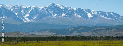Panorama of the mountains covered with snow, Northern Chuysky Range, Altai Republic, Russia #238170776