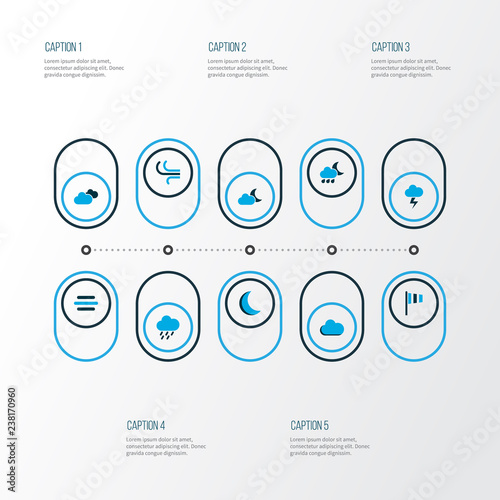 Air icons colored set with breeze, wind, flag and other fog