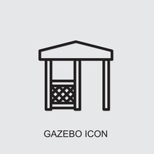 Gazebo Icon . Editable Outline Gazebo Icon From Gardening. Trendy Gazebo Icon For Web And Mobile.