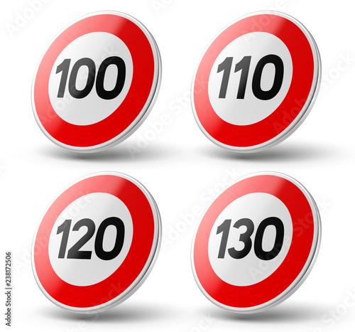 Fotomural Panneaux de limitations de vitesse vectoriels 3