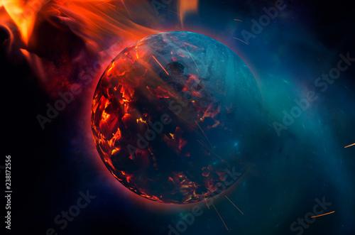 Fototapeta world burning concept apocalyptic scene, planet burning in space obraz