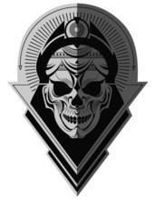 Decorative Black And White Alien Skull Flat Paper Memorable Art For Sticker, Tattoo Or T-shirt Printing