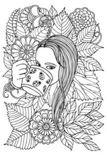 Girl And Flowers. Page For Coloring Book. Doodles In Black And White