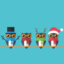 Christmas Choir. Cute Festive Owls Dressed As A Snowman, Reindeer And Santa.