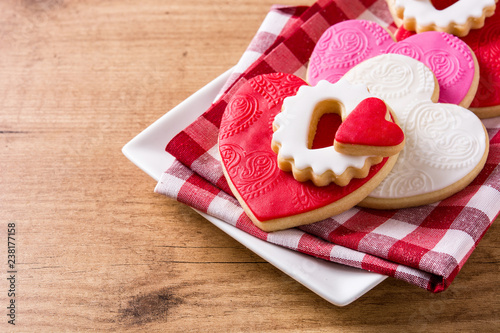 Heart-shaped cookies for Valentine's Day on wooden background Canvas Print